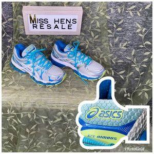 EUC ASICS WOMENS BLUE GEL NIMBUS 16 RUNNING SHOES